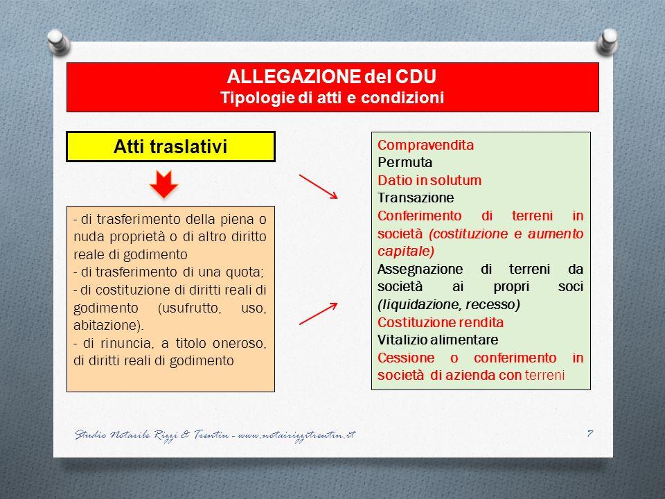 Tipologie di atti e condizioni