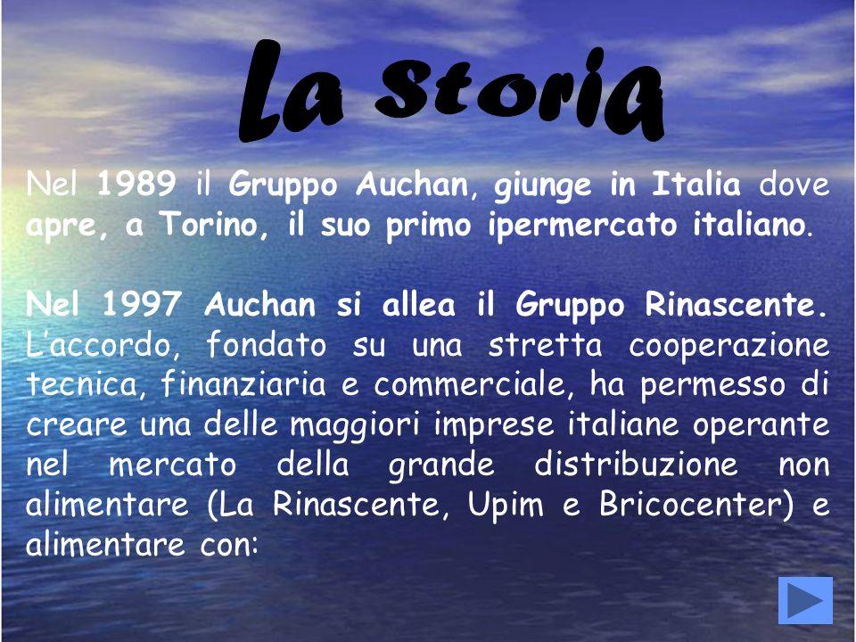 La Storia Nel 1989 il Gruppo Auchan, giunge in Italia dove apre, a Torino, il suo primo ipermercato italiano.