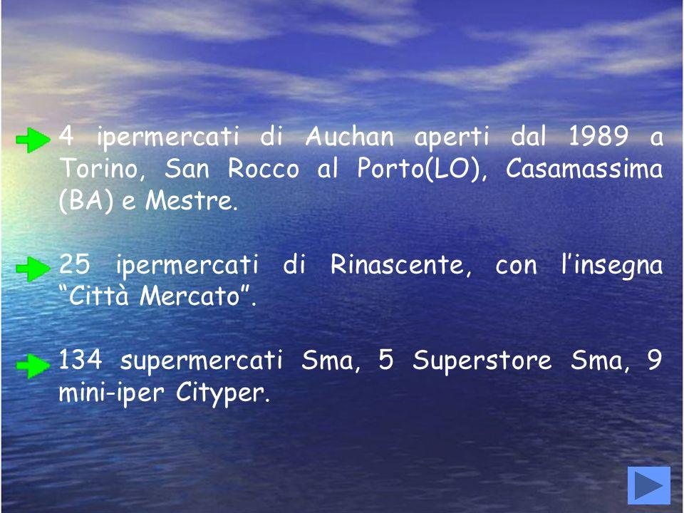 4 ipermercati di Auchan aperti dal 1989 a Torino, San Rocco al Porto(LO), Casamassima (BA) e Mestre.