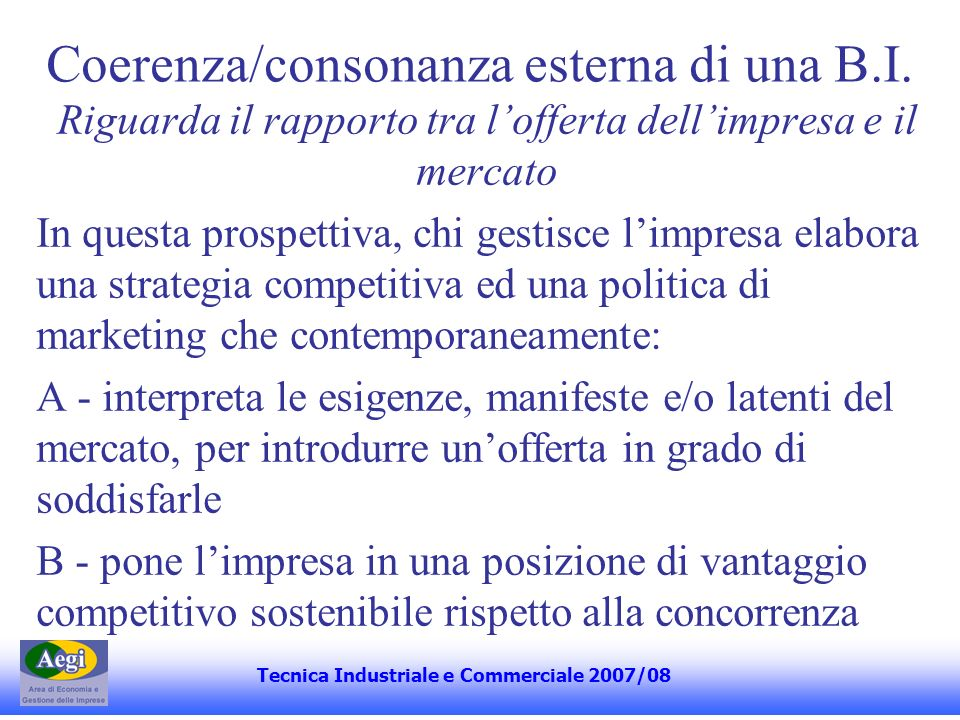 Coerenza/consonanza esterna di una B.I.