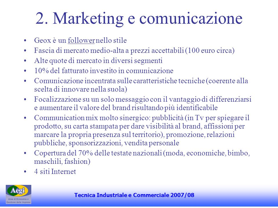 2. Marketing e comunicazione