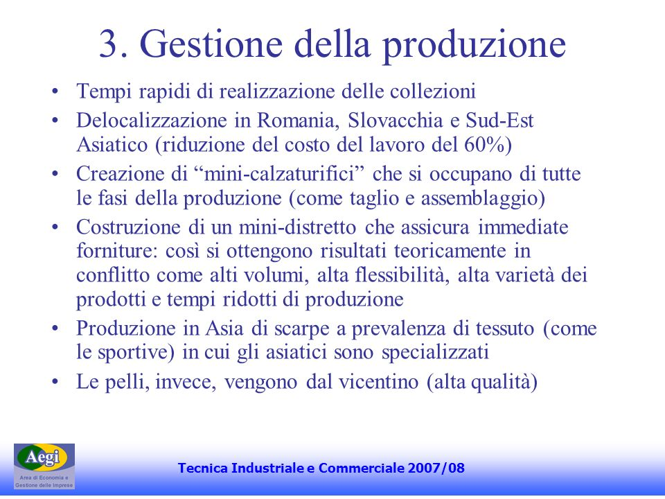3. Gestione della produzione