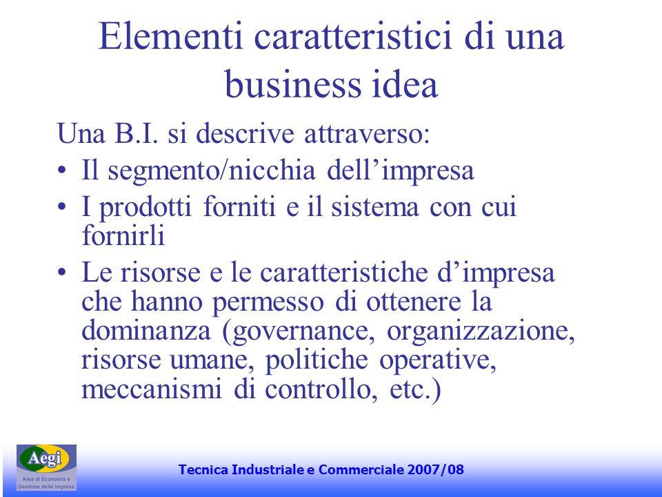 Elementi caratteristici di una business idea