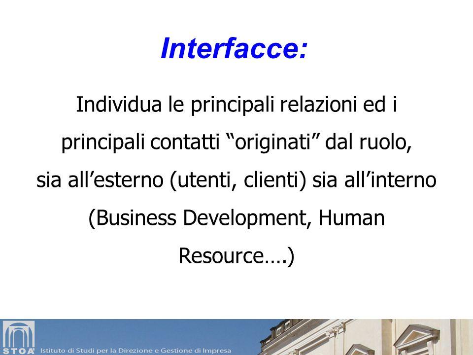Interfacce: Individua le principali relazioni ed i principali contatti originati dal ruolo,