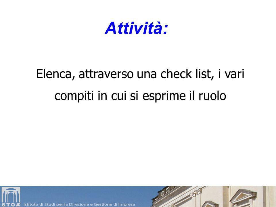 Attività: Elenca, attraverso una check list, i vari compiti in cui si esprime il ruolo