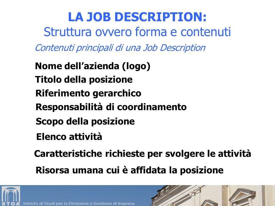 LA JOB DESCRIPTION: Struttura ovvero forma e contenuti