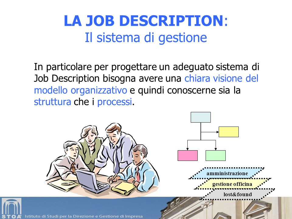 LA JOB DESCRIPTION: Il sistema di gestione