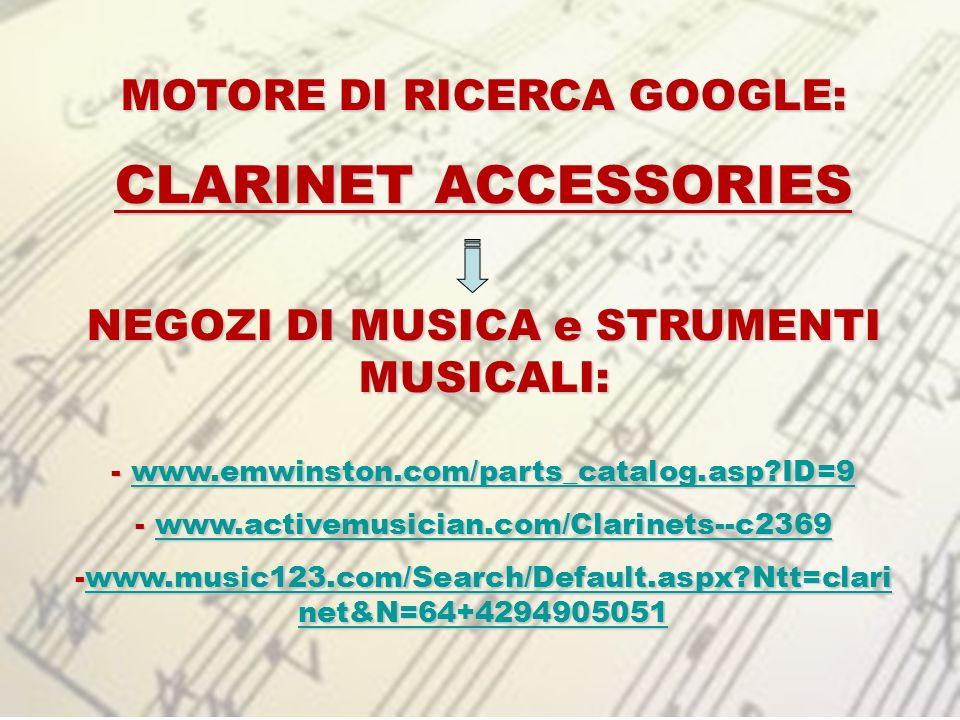 MOTORE DI RICERCA GOOGLE: NEGOZI DI MUSICA e STRUMENTI MUSICALI: