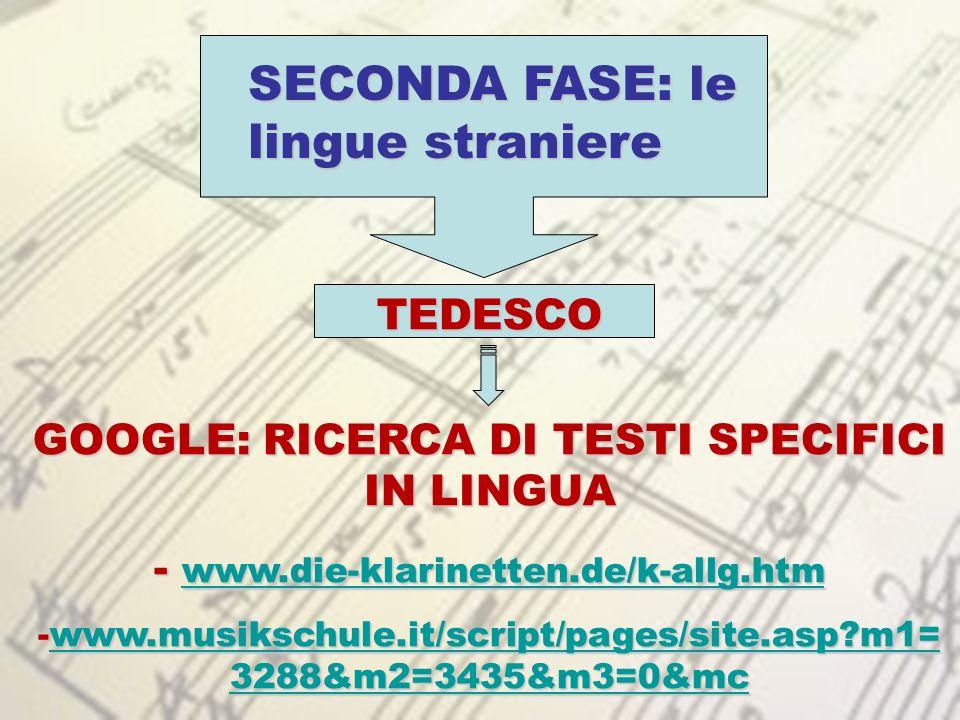 GOOGLE: RICERCA DI TESTI SPECIFICI IN LINGUA