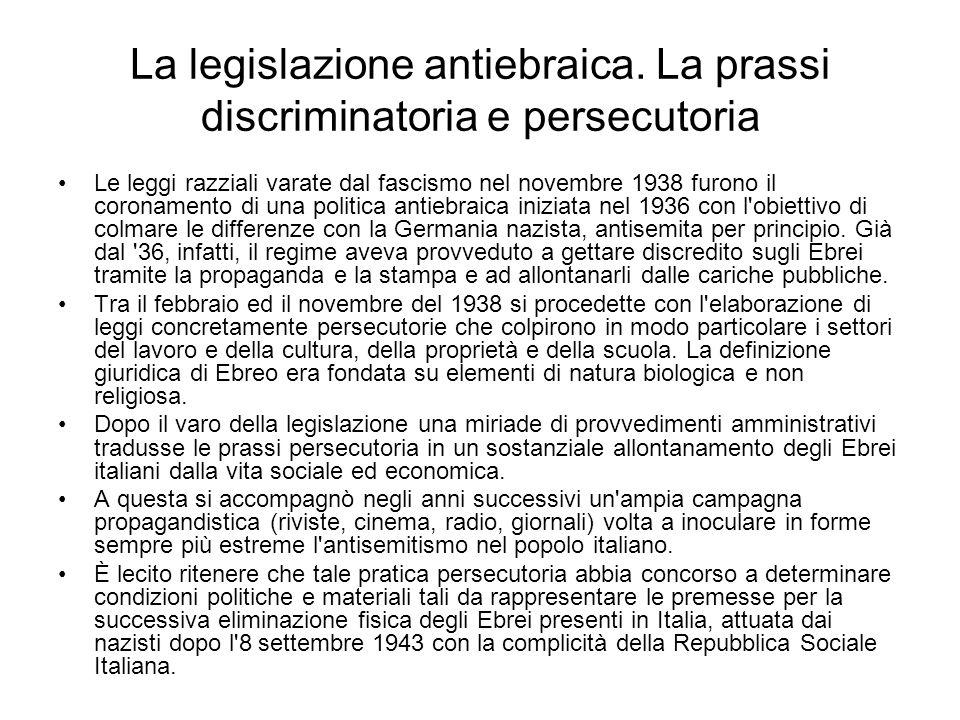 La legislazione antiebraica. La prassi discriminatoria e persecutoria