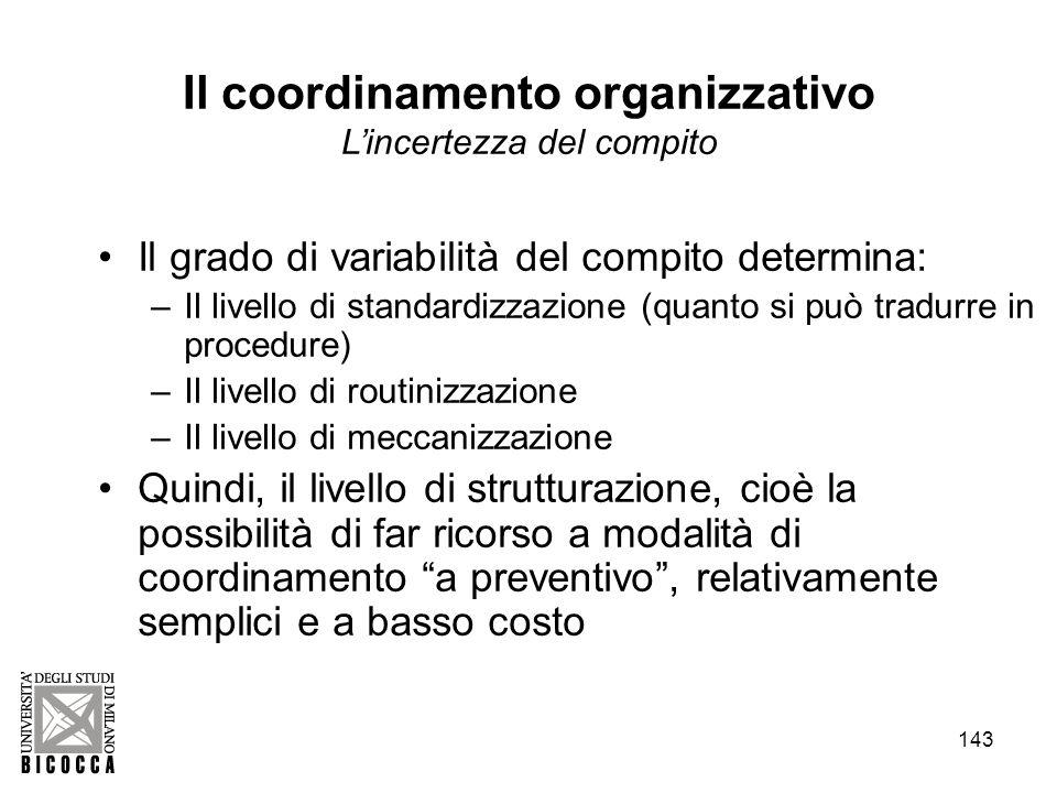 Il coordinamento organizzativo L'incertezza del compito