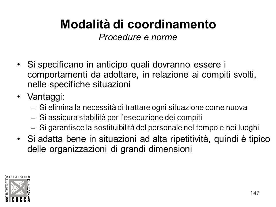 Modalità di coordinamento Procedure e norme