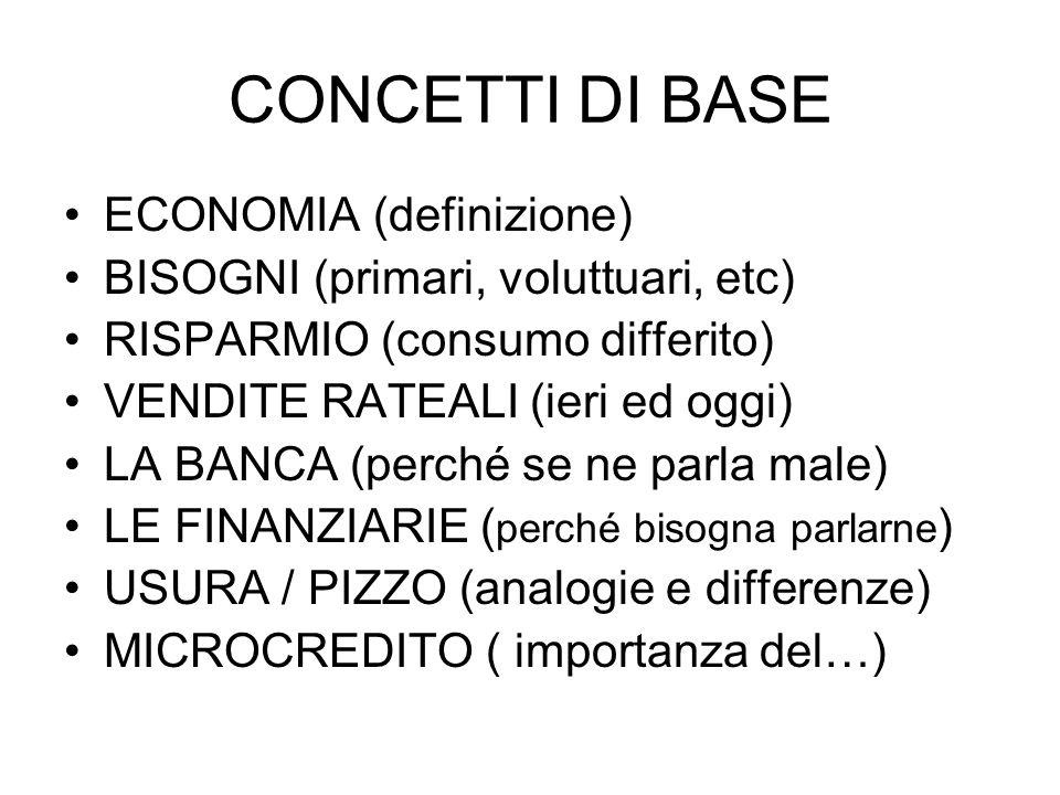 CONCETTI DI BASE ECONOMIA (definizione)