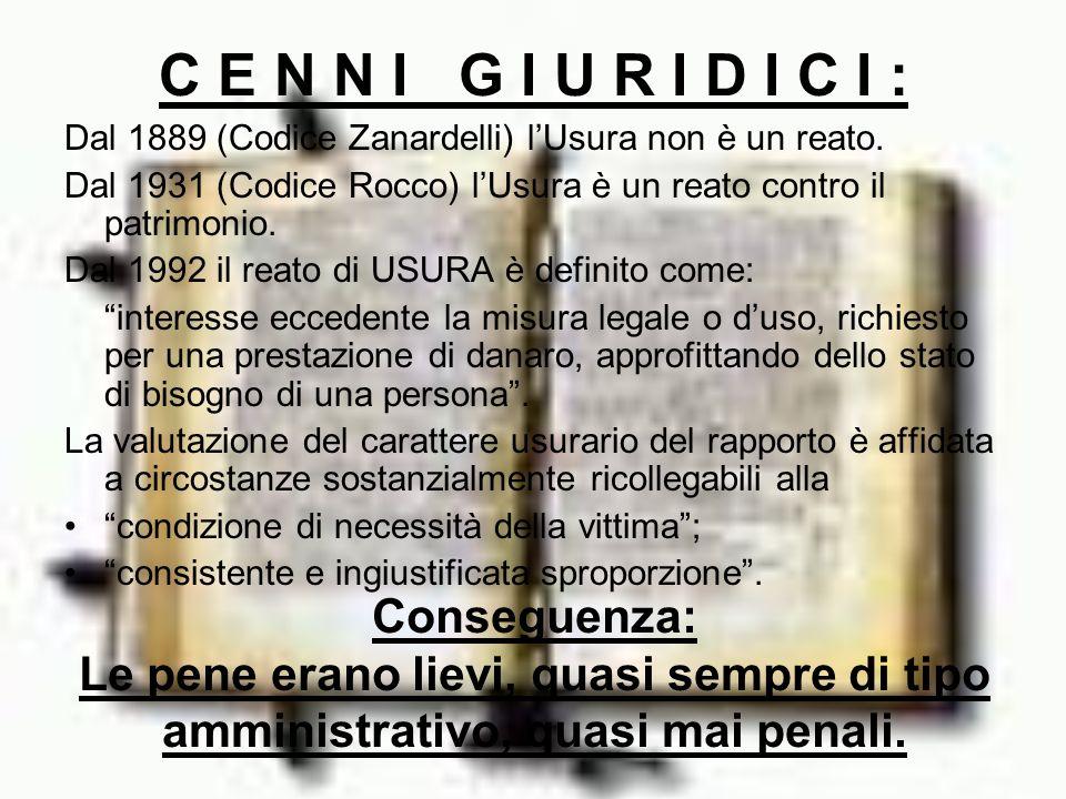 C E N N I G I U R I D I C I : Dal 1889 (Codice Zanardelli) l'Usura non è un reato.