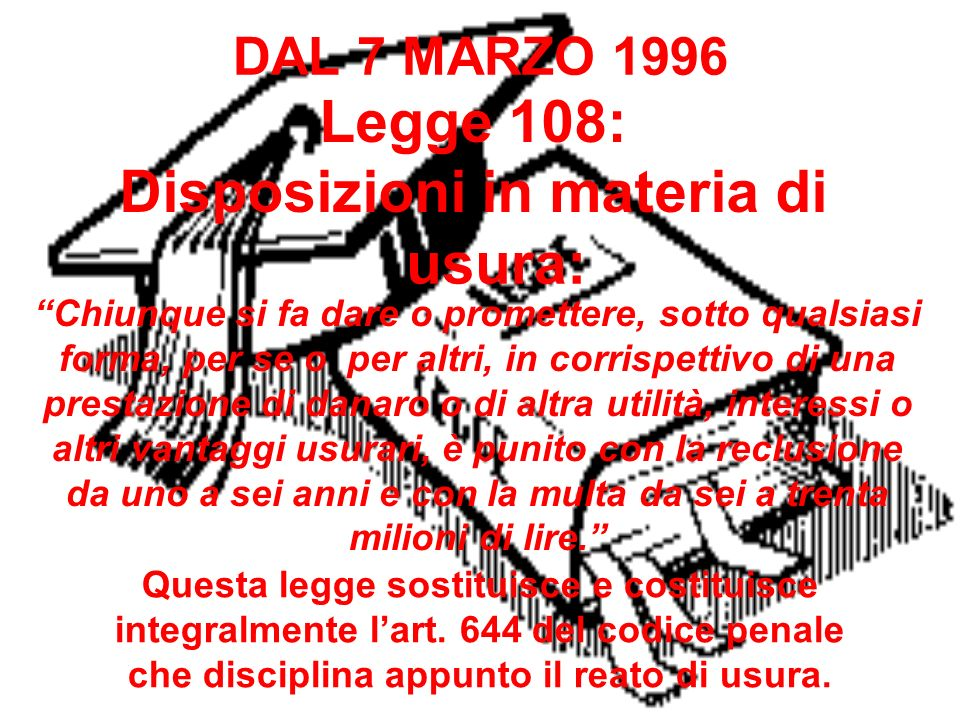 Legge 108: Disposizioni in materia di