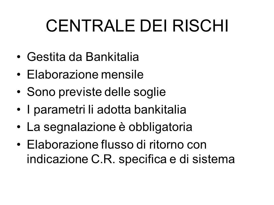 CENTRALE DEI RISCHI Gestita da Bankitalia Elaborazione mensile