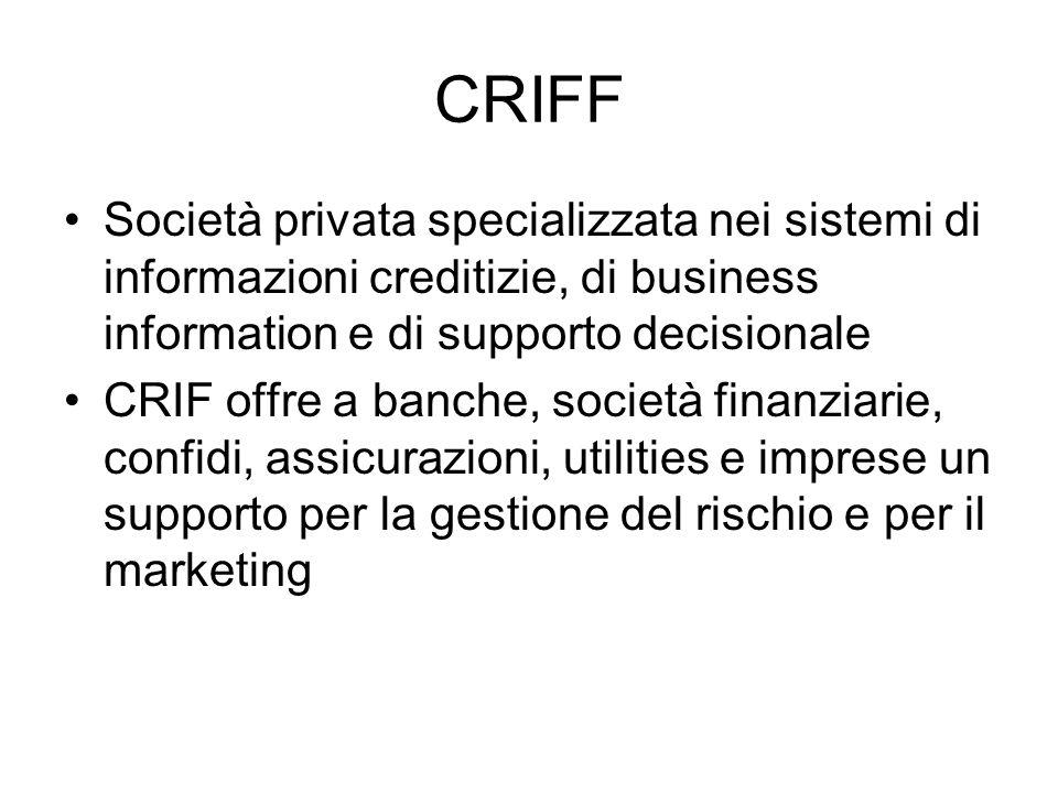 CRIFF Società privata specializzata nei sistemi di informazioni creditizie, di business information e di supporto decisionale.