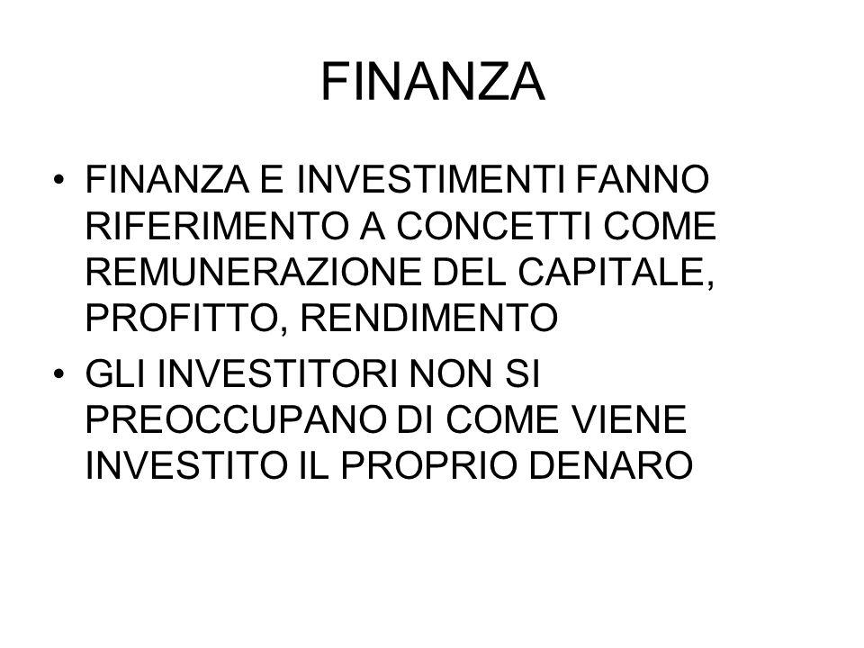 FINANZA FINANZA E INVESTIMENTI FANNO RIFERIMENTO A CONCETTI COME REMUNERAZIONE DEL CAPITALE, PROFITTO, RENDIMENTO.
