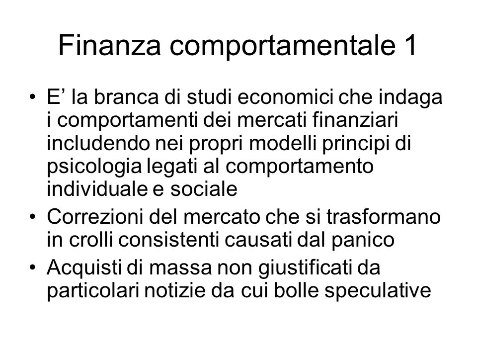 Finanza comportamentale 1