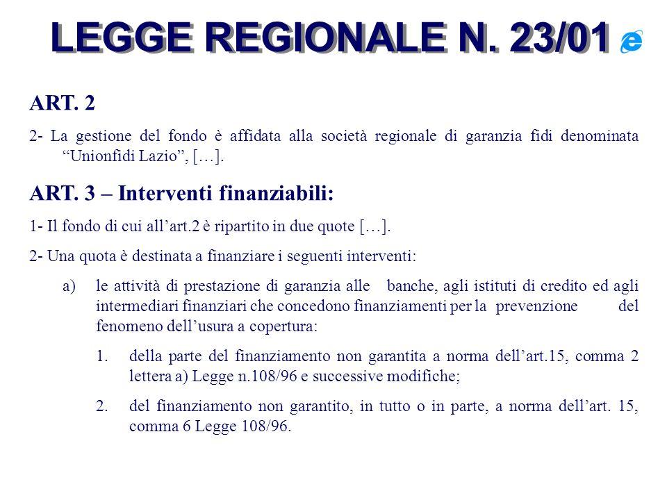 LEGGE REGIONALE N. 23/01 ART. 2 ART. 3 – Interventi finanziabili: