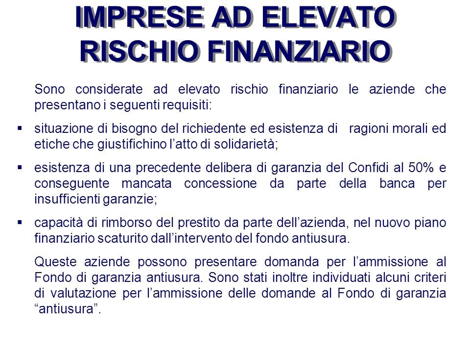 IMPRESE AD ELEVATO RISCHIO FINANZIARIO