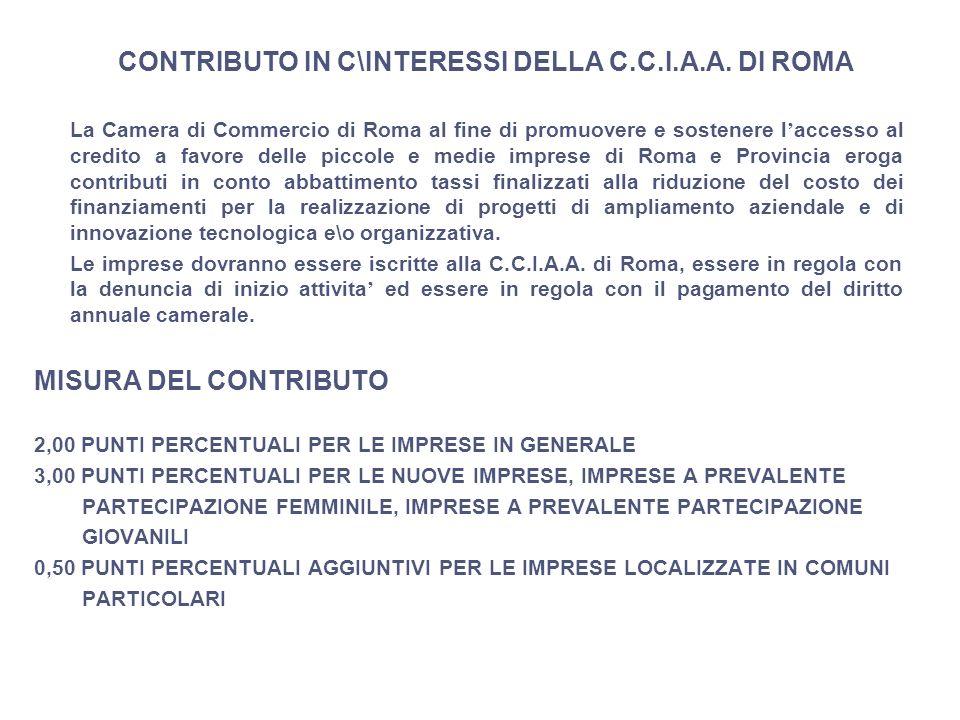 CONTRIBUTO IN C\INTERESSI DELLA C.C.I.A.A. DI ROMA