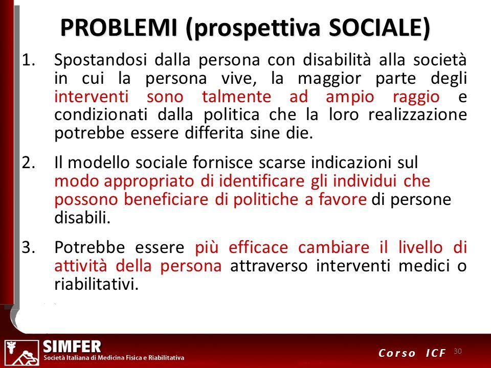 PROBLEMI (prospettiva SOCIALE)