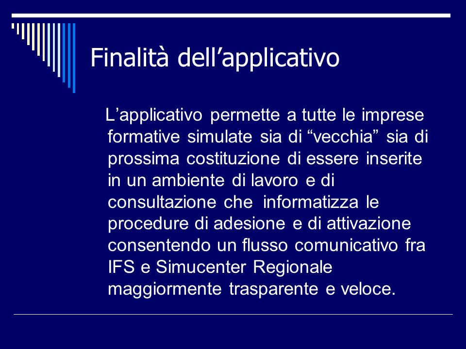 Finalità dell'applicativo