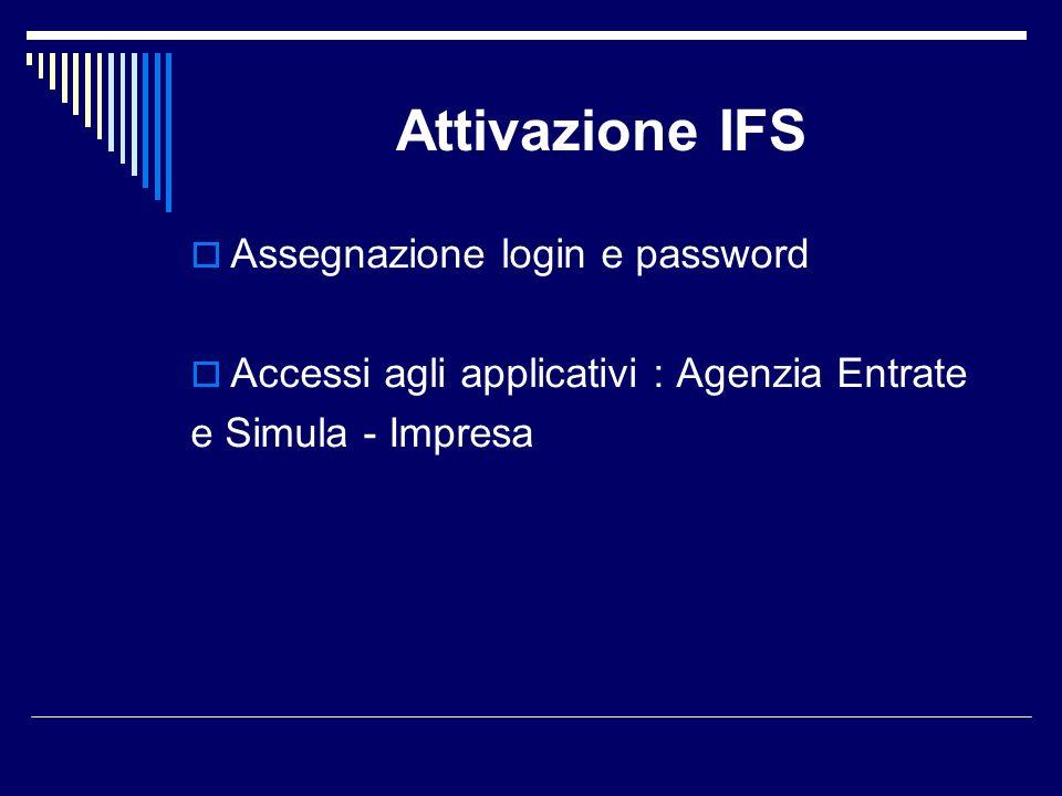 Attivazione IFS Assegnazione login e password