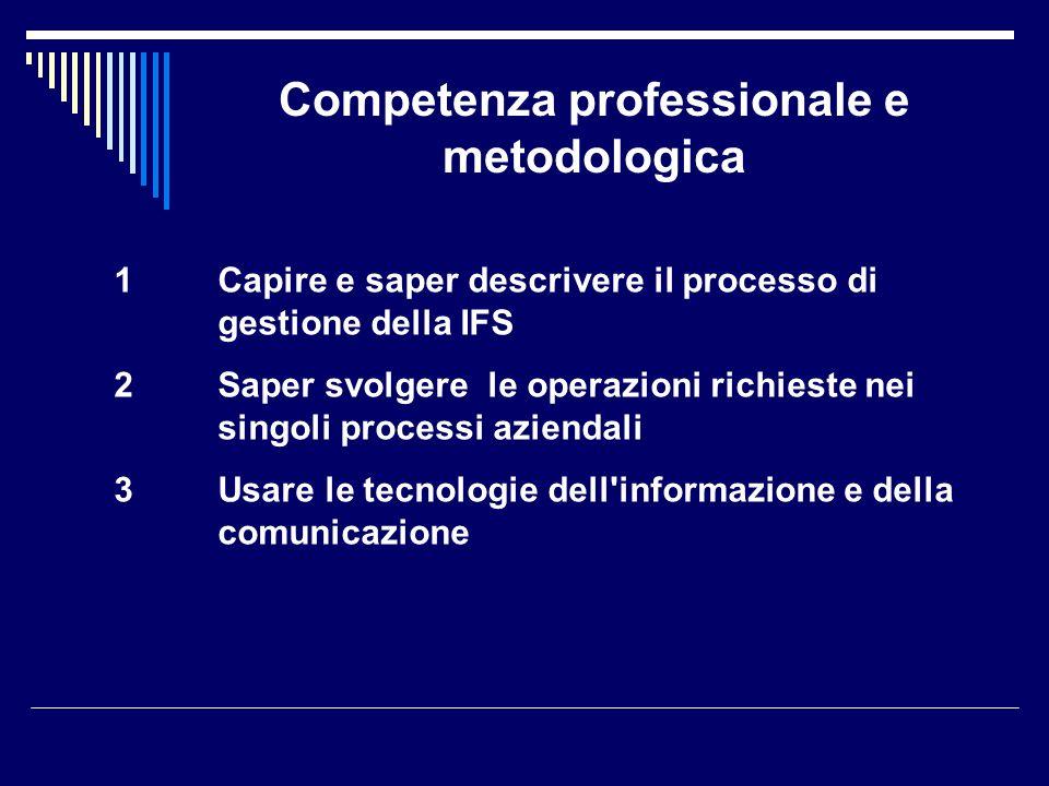 Competenza professionale e metodologica