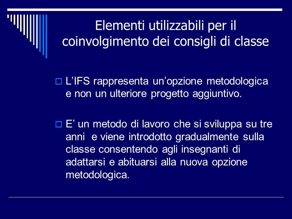 Elementi utilizzabili per il coinvolgimento dei consigli di classe