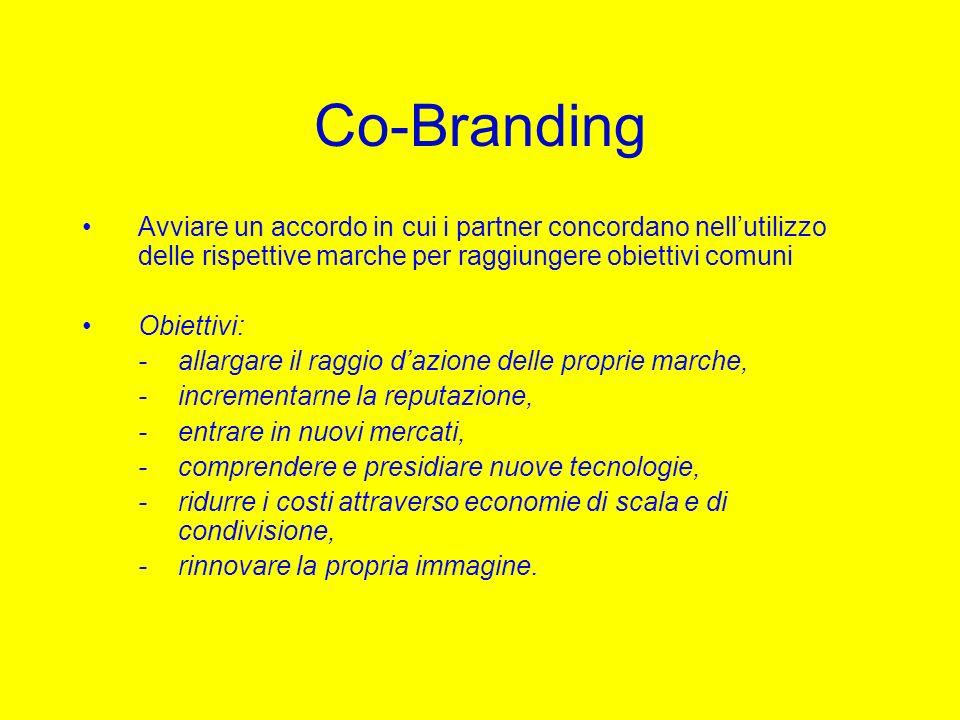 Co-Branding Avviare un accordo in cui i partner concordano nell'utilizzo delle rispettive marche per raggiungere obiettivi comuni.