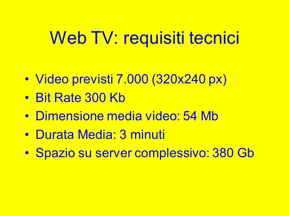 Web TV: requisiti tecnici