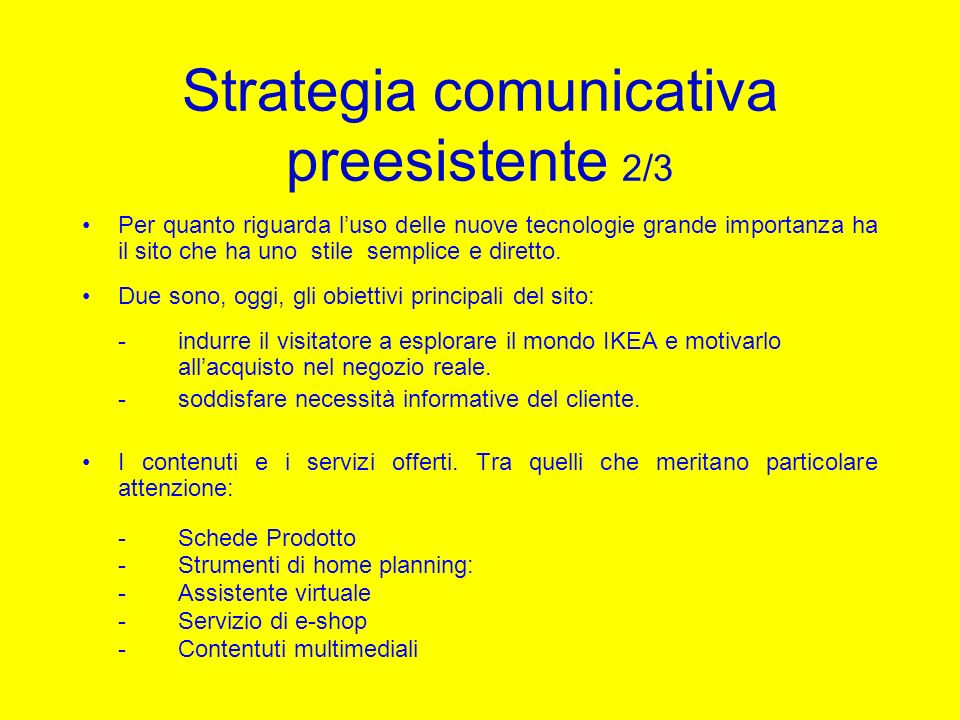 Strategia comunicativa preesistente 2/3
