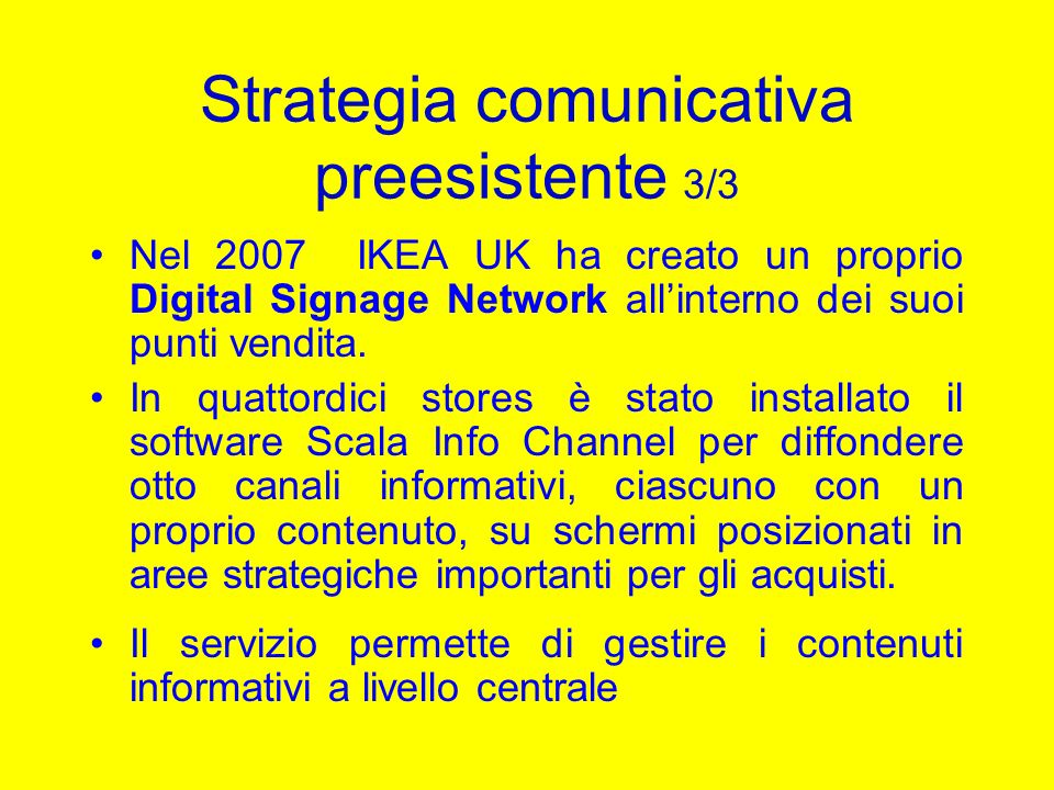 Strategia comunicativa preesistente 3/3