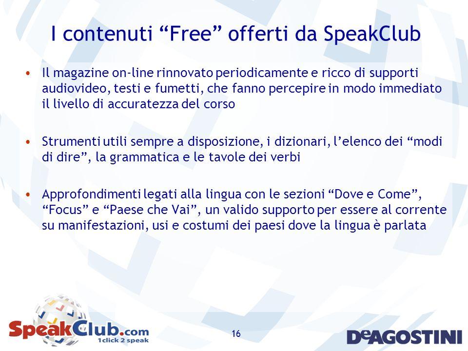I contenuti Free offerti da SpeakClub