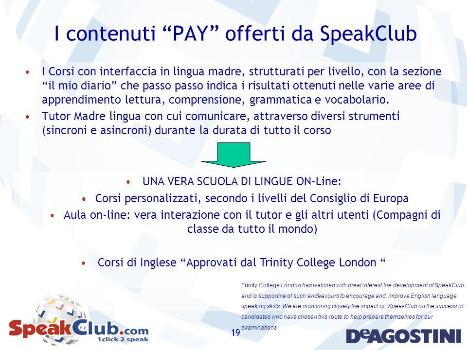 I contenuti PAY offerti da SpeakClub