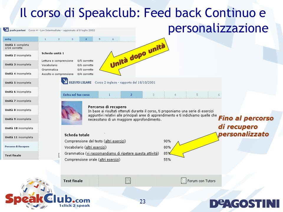 Il corso di Speakclub: Feed back Continuo e personalizzazione