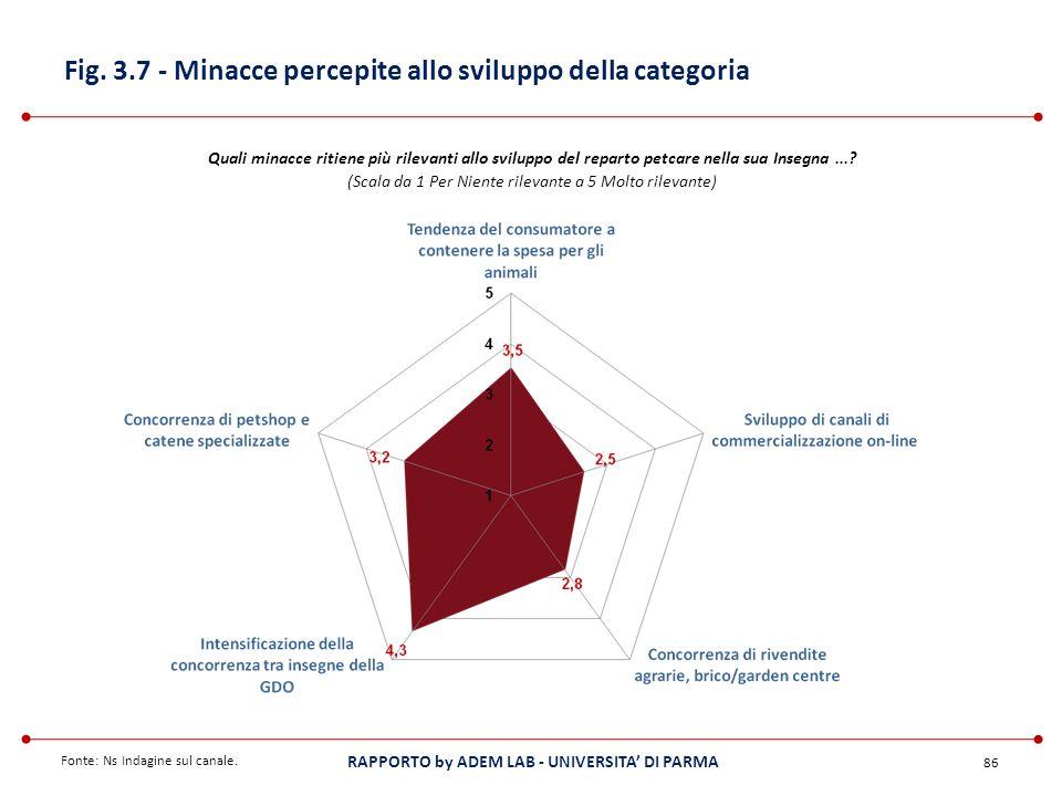 Fig. 3.7 - Minacce percepite allo sviluppo della categoria