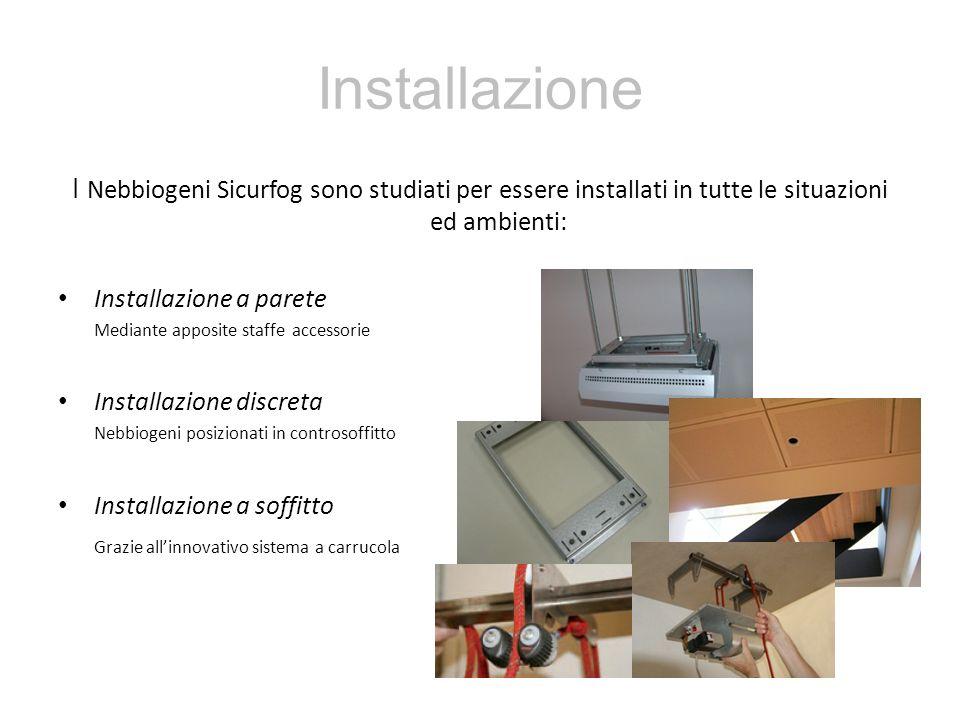 Installazione I Nebbiogeni Sicurfog sono studiati per essere installati in tutte le situazioni ed ambienti:
