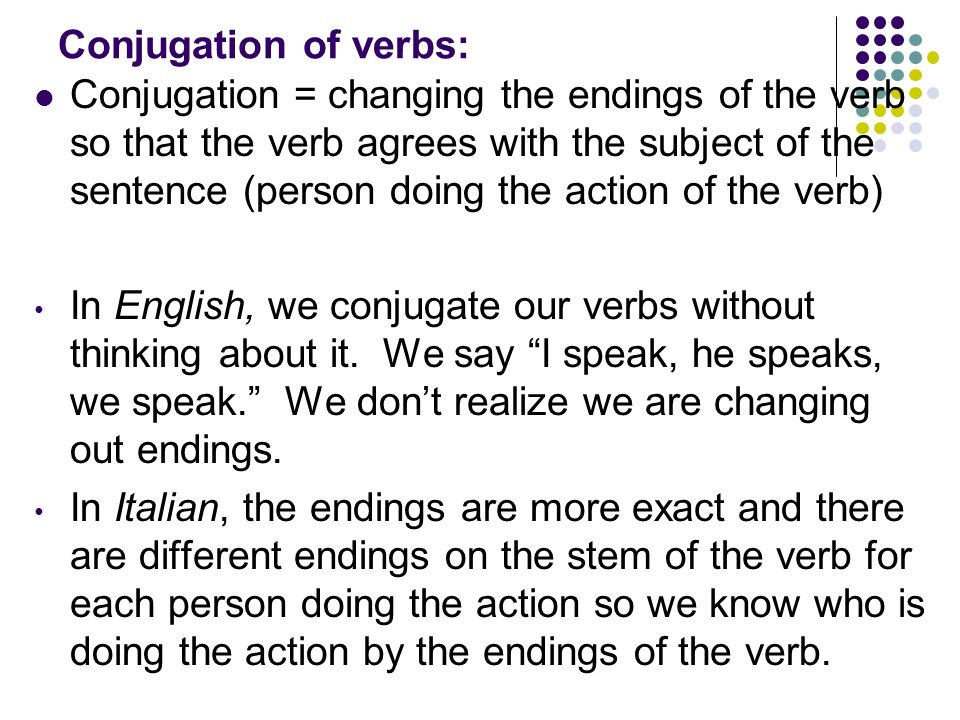 Conjugation of verbs: