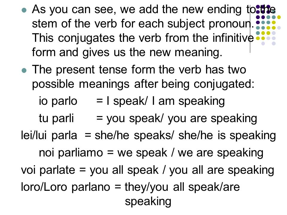 As you can see, we add the new ending to the stem of the verb for each subject pronoun. This conjugates the verb from the infinitive form and gives us the new meaning.