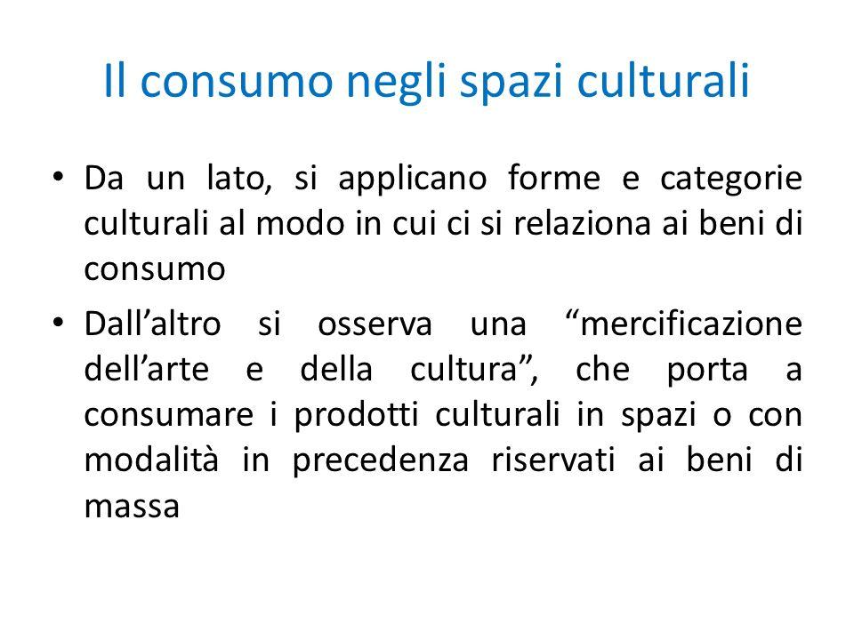 Il consumo negli spazi culturali