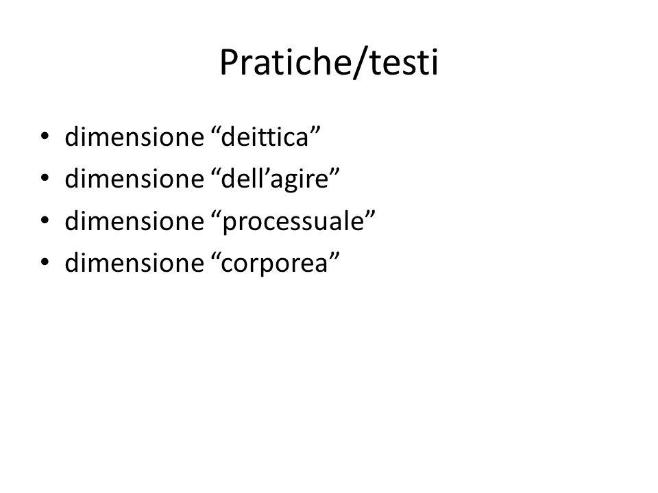 Pratiche/testi dimensione deittica dimensione dell'agire