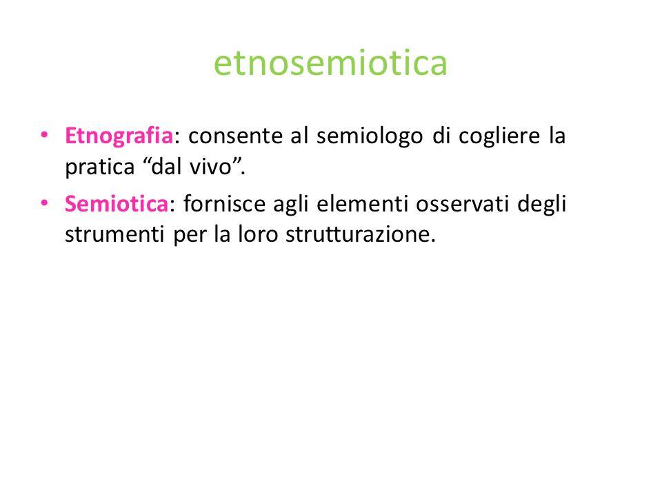 etnosemiotica Etnografia: consente al semiologo di cogliere la pratica dal vivo .