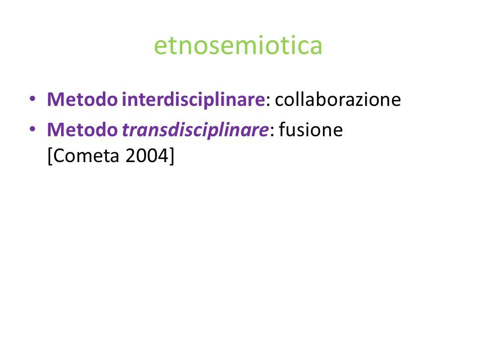 etnosemiotica Metodo interdisciplinare: collaborazione