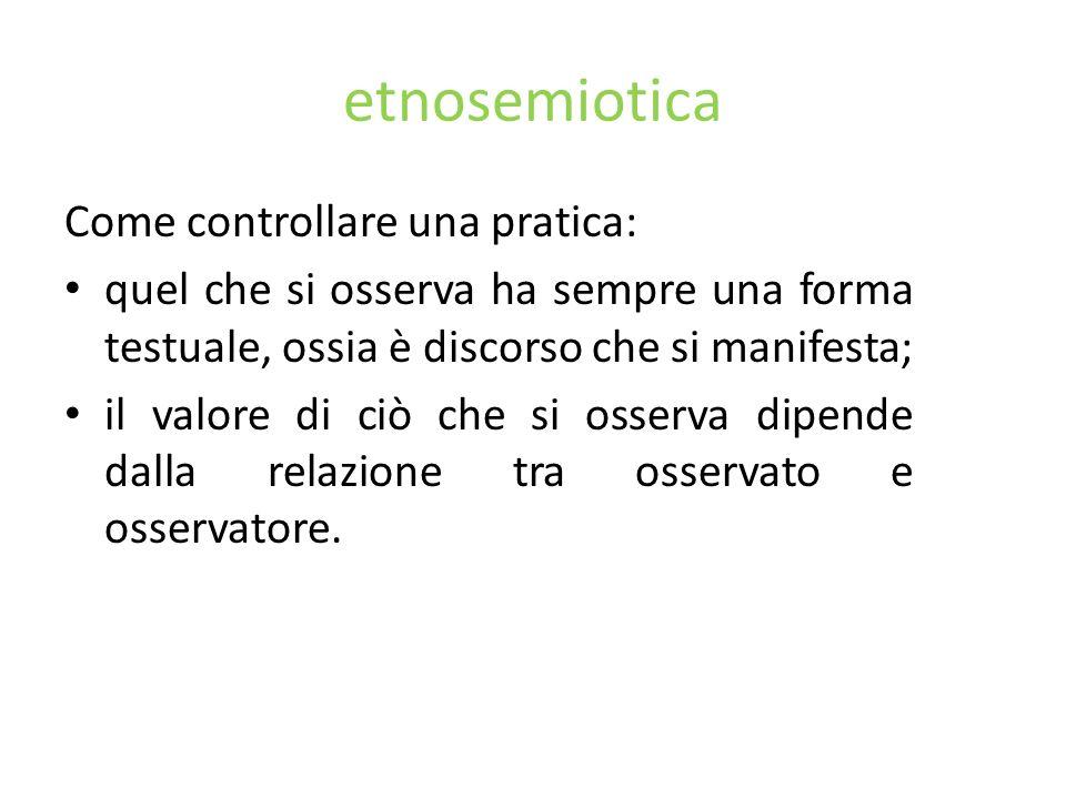 etnosemiotica Come controllare una pratica: