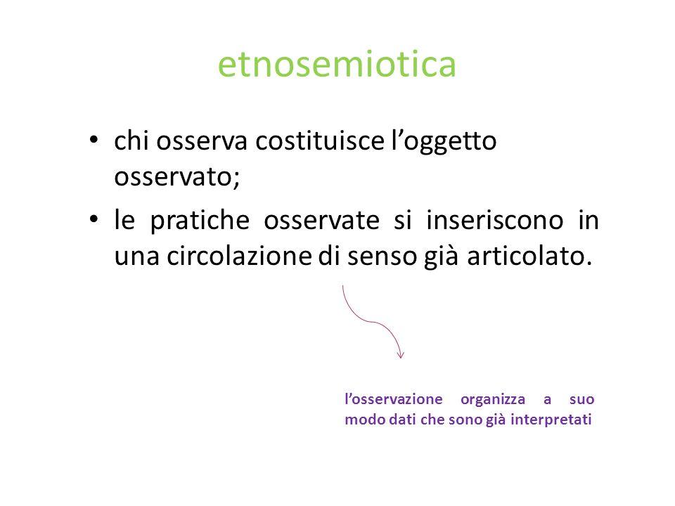 etnosemiotica chi osserva costituisce l'oggetto osservato;