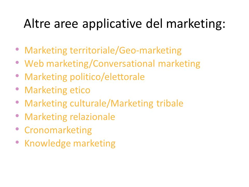 Altre aree applicative del marketing: