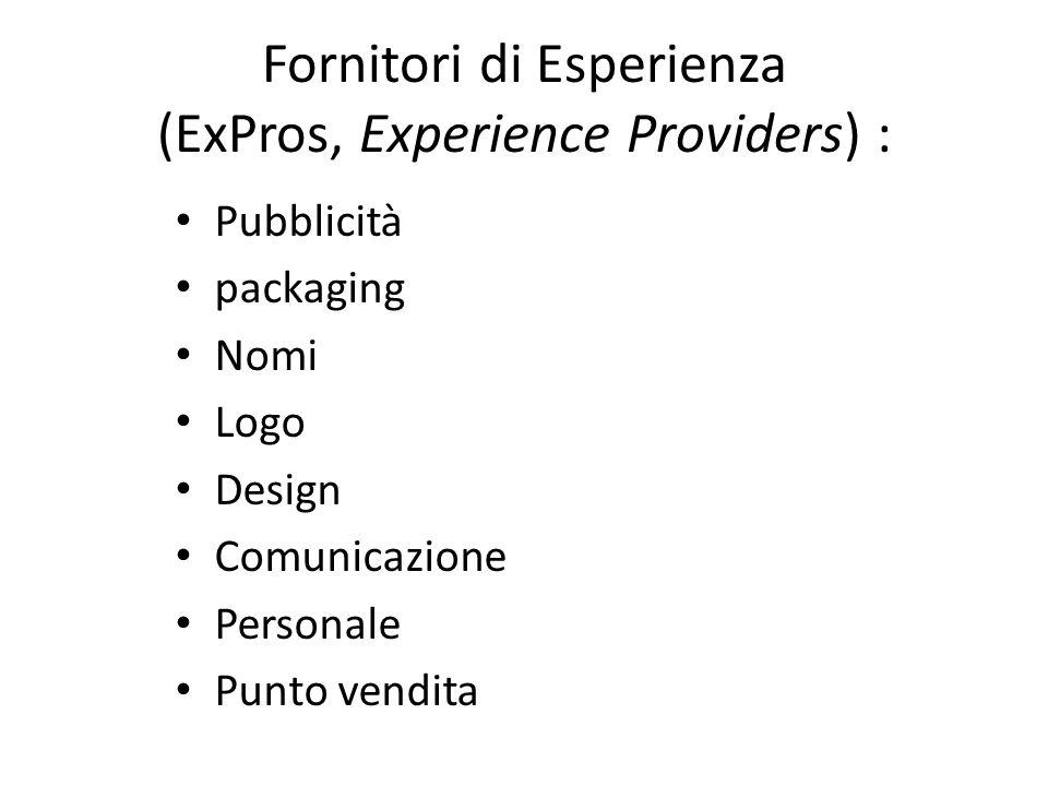 Fornitori di Esperienza (ExPros, Experience Providers) :